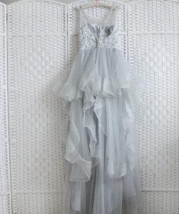 Серо-голубое платье на выпускной вечер