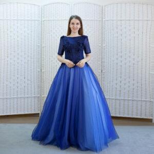 Шикарное бальное платье синего цвета
