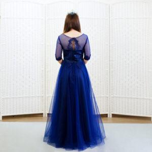 Темное синее платье с рукавом 2/4