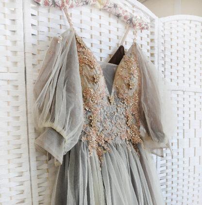 Пышное платье на выпускной цвета молочного шоколада