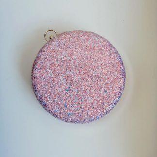 Блестящий розовый клатч
