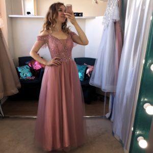 Розовое платье на выпускной в бусинках