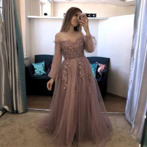 Платье на выпускной пыльно-розового цвета