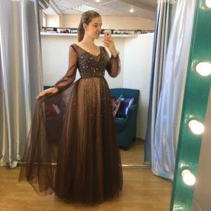 Шоколадное платье на выпускной вечер