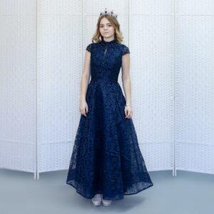 Кружевное темно-синее платье с бисером
