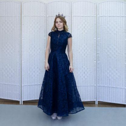 Кружевное темно-синее платье в пол