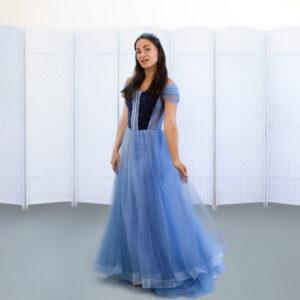 Синее платье на выпускной вечер