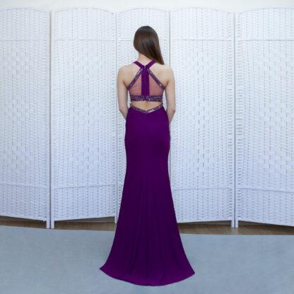 Вечернее платье русалка фиолетового цвета