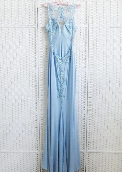 Вечернее платье русалка голубого цвета