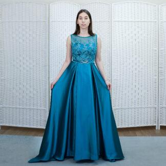 Атласное платье бирюзового цвета