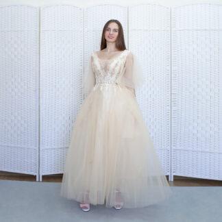 Молочное платье в пол