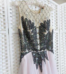 Нежно-розовое платье в пол