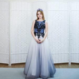 Синее платье в пол с эффектом обмрэ