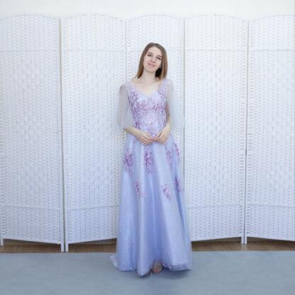 Лиловое платье в пол с рукавами-крылышками