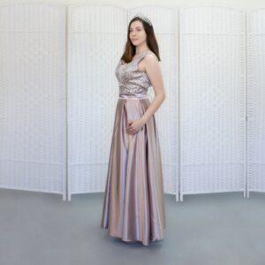 Атласное розовое платье в пол