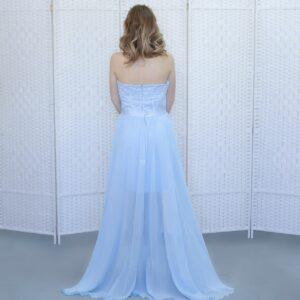 Голубое платье мини на выпускной вечер