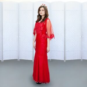 Красное платье-русалка в пол