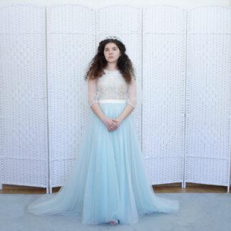 Нежное голубое платье на выпускной