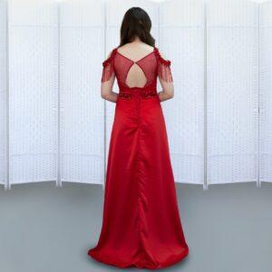 Роскошное красное платье в пол на выпускной вечер