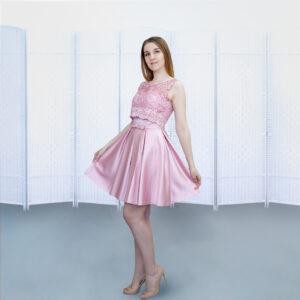 Розовое мини платье на выпускной вечер