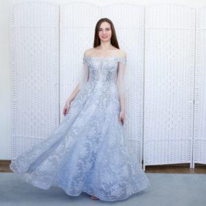 Серое платье на выпускной вечер