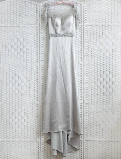 Серое выпускное платье в пол