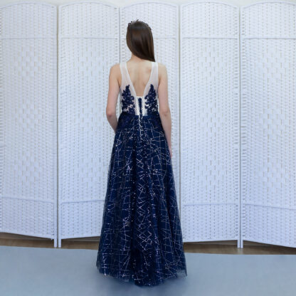 Синее платье в пол на выпускной вечер