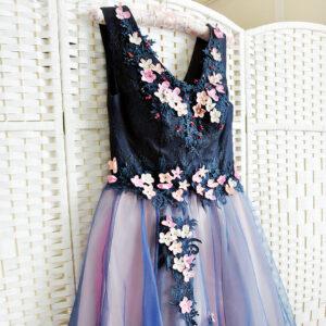 Синее пышное платье на выпускной