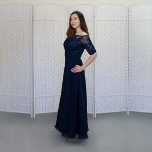 Темно-синее шифоновое платье