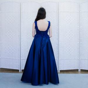 Атласное синее платье