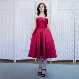 Атласное винное платье миди на выпускной вечер