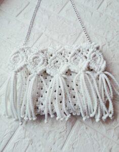 Белая плетеная сумка ручной работы