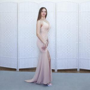 Бежевое платье русалка на выпускной вечер