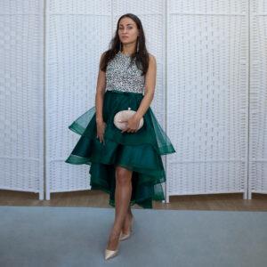 Изумрудное мини платье