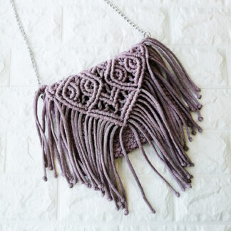 Плетеная сумка, цвет: фиолетовый, ручная работа