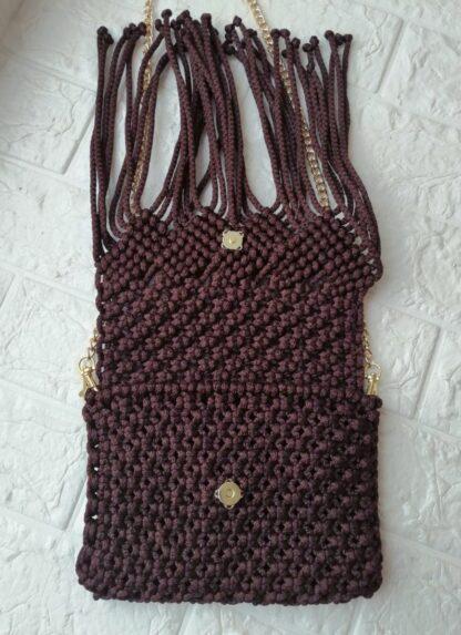 Плетеная сумка, цвет: горький шоколад, ручная работа