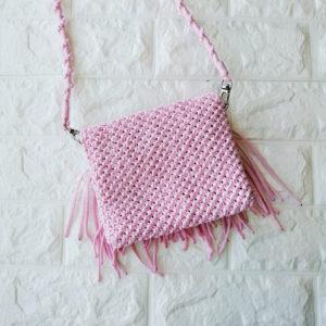 Плетеная сумка, цвет: розовый, ручная работа