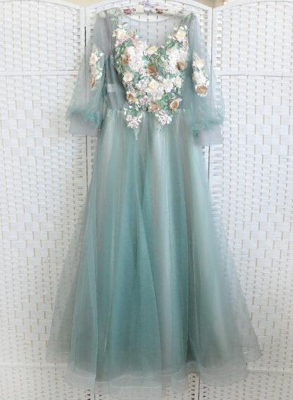 Пыльно-зеленое платье на выпускной вечер