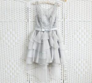 Серое мини платье