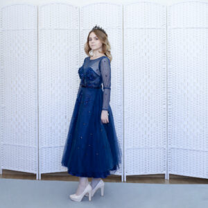 """Шикарное синее платье длины """"миди"""""""