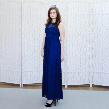 Синее гипюровое платье