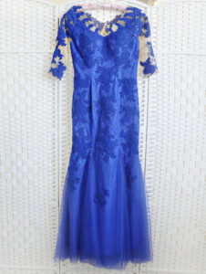 Синее платье русалка на выпускной вечер