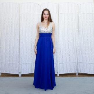 Синее шифоновое платье на выпускной вечер