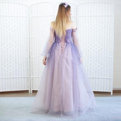 Сиреневое платье в пол