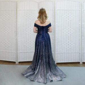 Сверкающее синее платье на выпускной