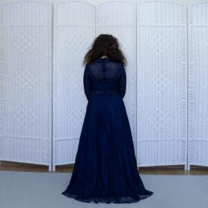 Темно-синее платье на выпускной вечер