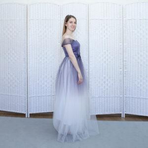 Фиолетовое платье с эффектом обмрэ