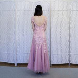 Нежно-розовое платье русалка на выпускной вечер