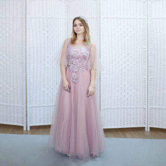 Пепельно-розовое платье на выпускной вечер