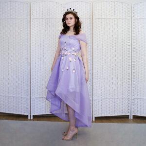 Сиреневое мини платье на выпускной вечер